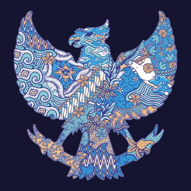 stockillustraties, clipart, cartoons en iconen met batik cultuur op garuda silhouet illustratie - batik