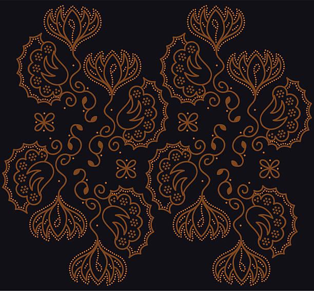 stockillustraties, clipart, cartoons en iconen met batik floral - indonesische cultuur