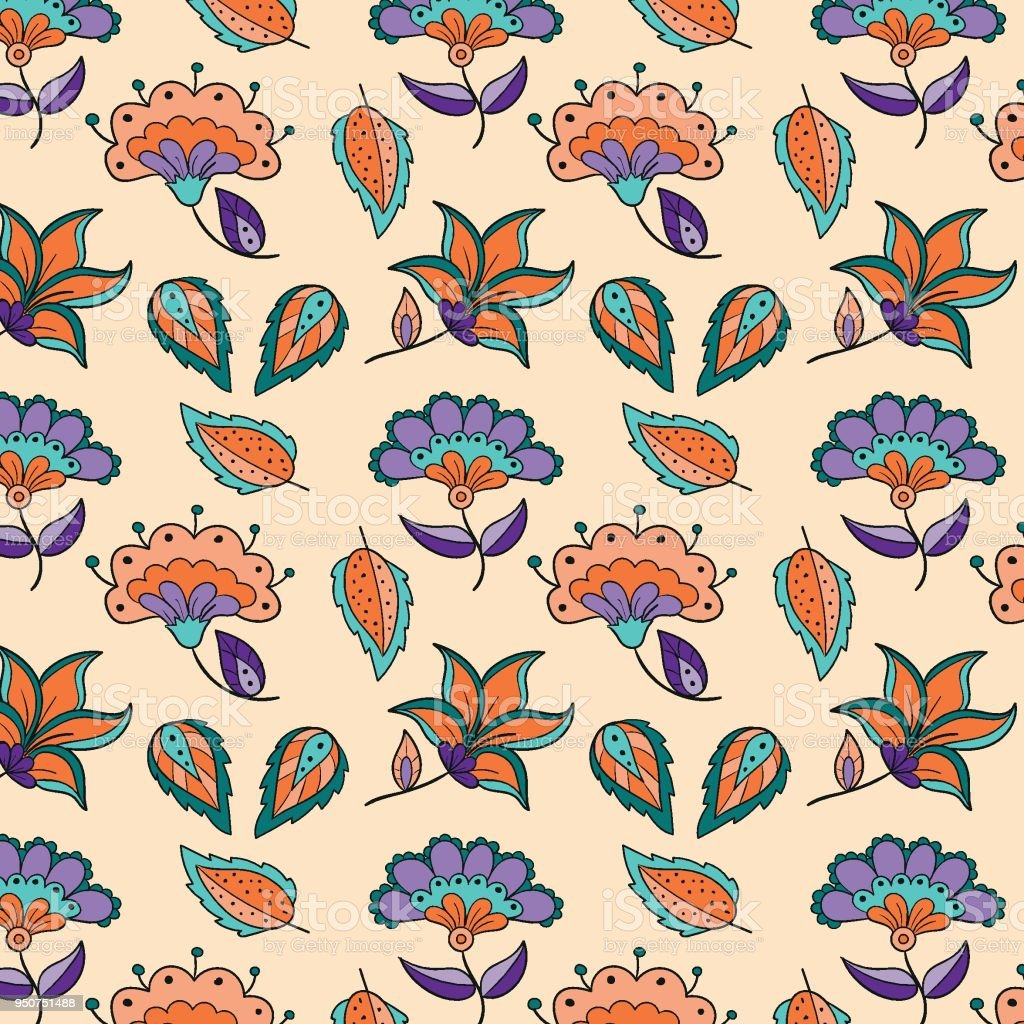 Batik Pattern Of Hand Drawn Flowers And Leaves Textile