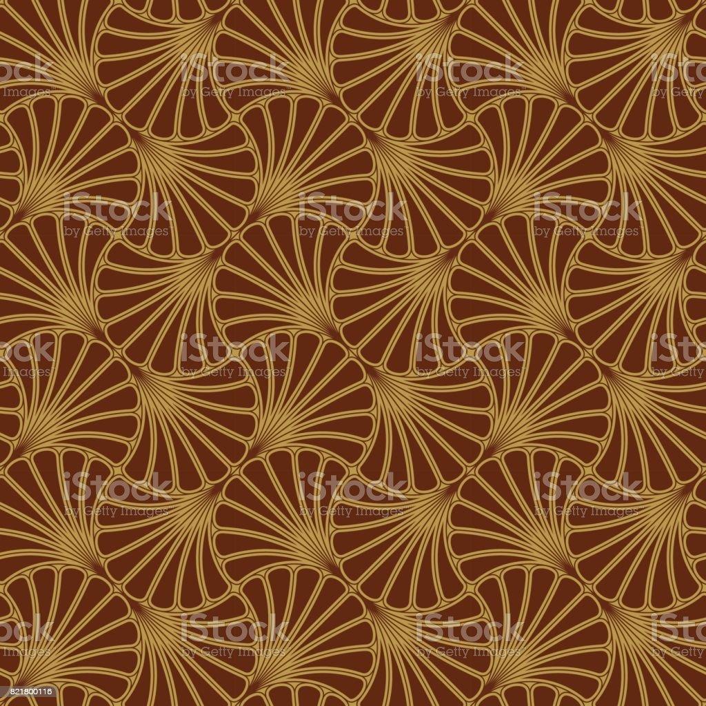 Batik Seamless Pattern - Fan - Red vector art illustration