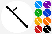 Baton Icon on Flat Color Circle Buttons