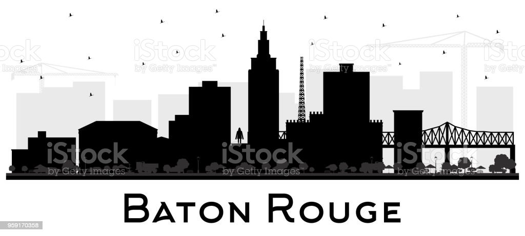 Baton Rouge Louisiana City Skyline Silhouette with Black Buildings Isolated on White. vector art illustration