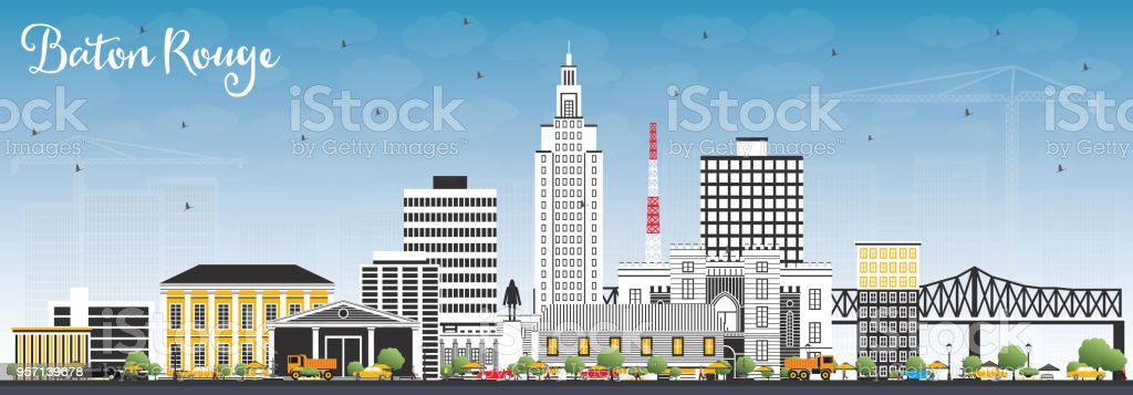 Baton Rouge Louisiana City Skyline with Color Buildings and Blue Sky. vector art illustration