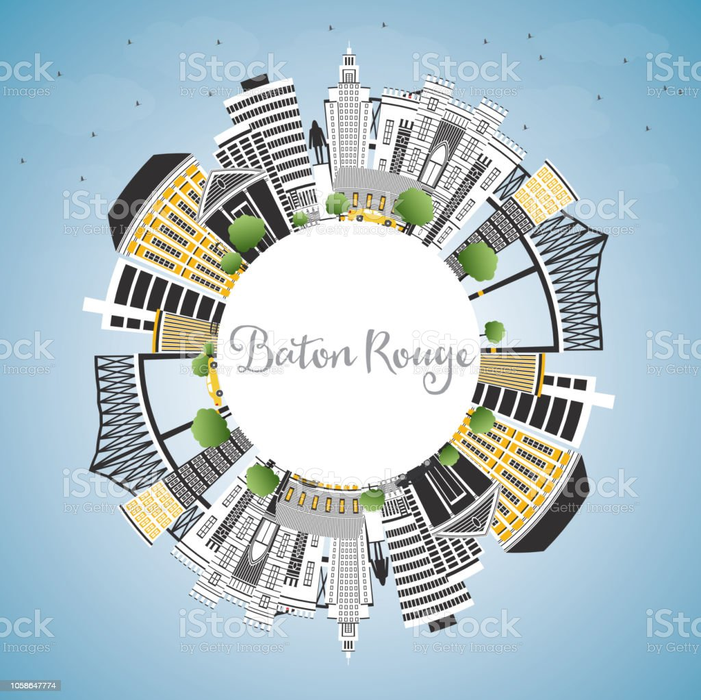 Baton Rouge Louisiana City Skyline with Color Buildings, Blue Sky and Copy Space. vector art illustration
