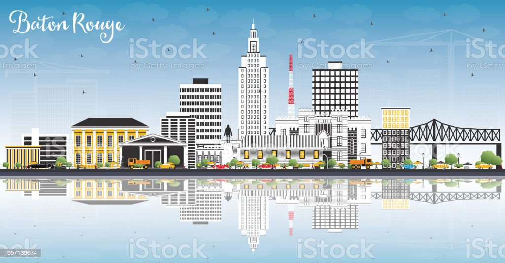 Baton Rouge Louisiana City Skyline with Color Buildings, Blue Sky and Reflections. vector art illustration