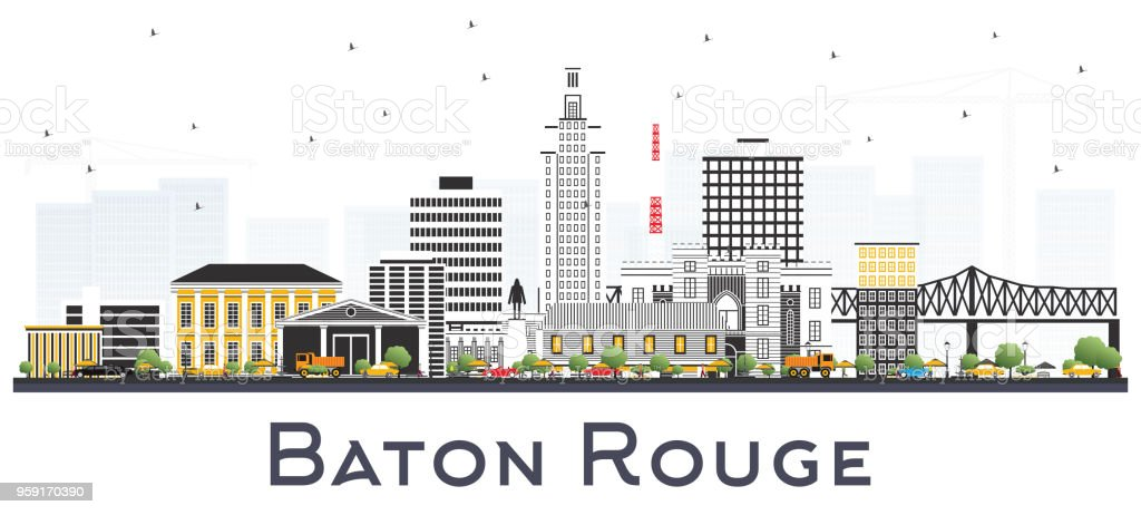 Baton Rouge Louisiana City Skyline with Color Buildings Isolated on White. vector art illustration