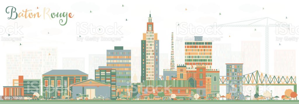 Baton Rouge Louisiana City Skyline with Color Buildings. vector art illustration