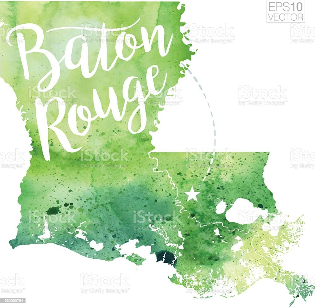 Baton Rouge, Louisiana USA Vector Watercolor Map vector art illustration