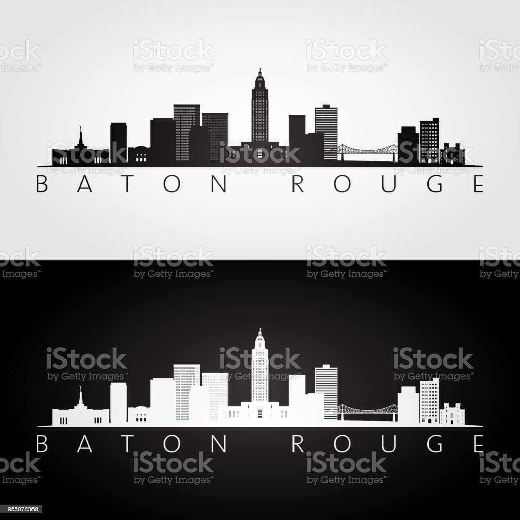 Baton Rouge USA skyline and landmarks silhouette, black and white design, vector illustration. vector art illustration
