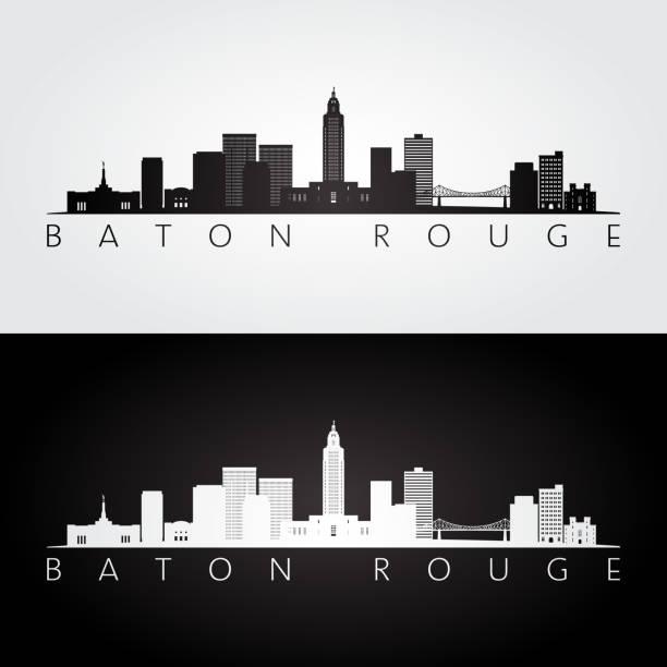 ilustrações, clipart, desenhos animados e ícones de baton rouge eua skyline e marcos silhueta, preto e branco desenho, ilustração vetorial. - capitel