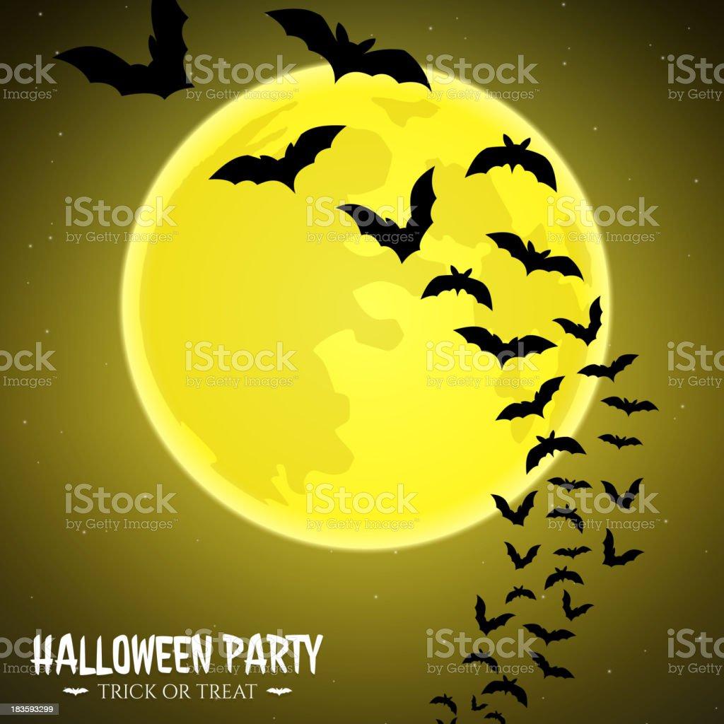 Bats fly over moon royalty-free stock vector art