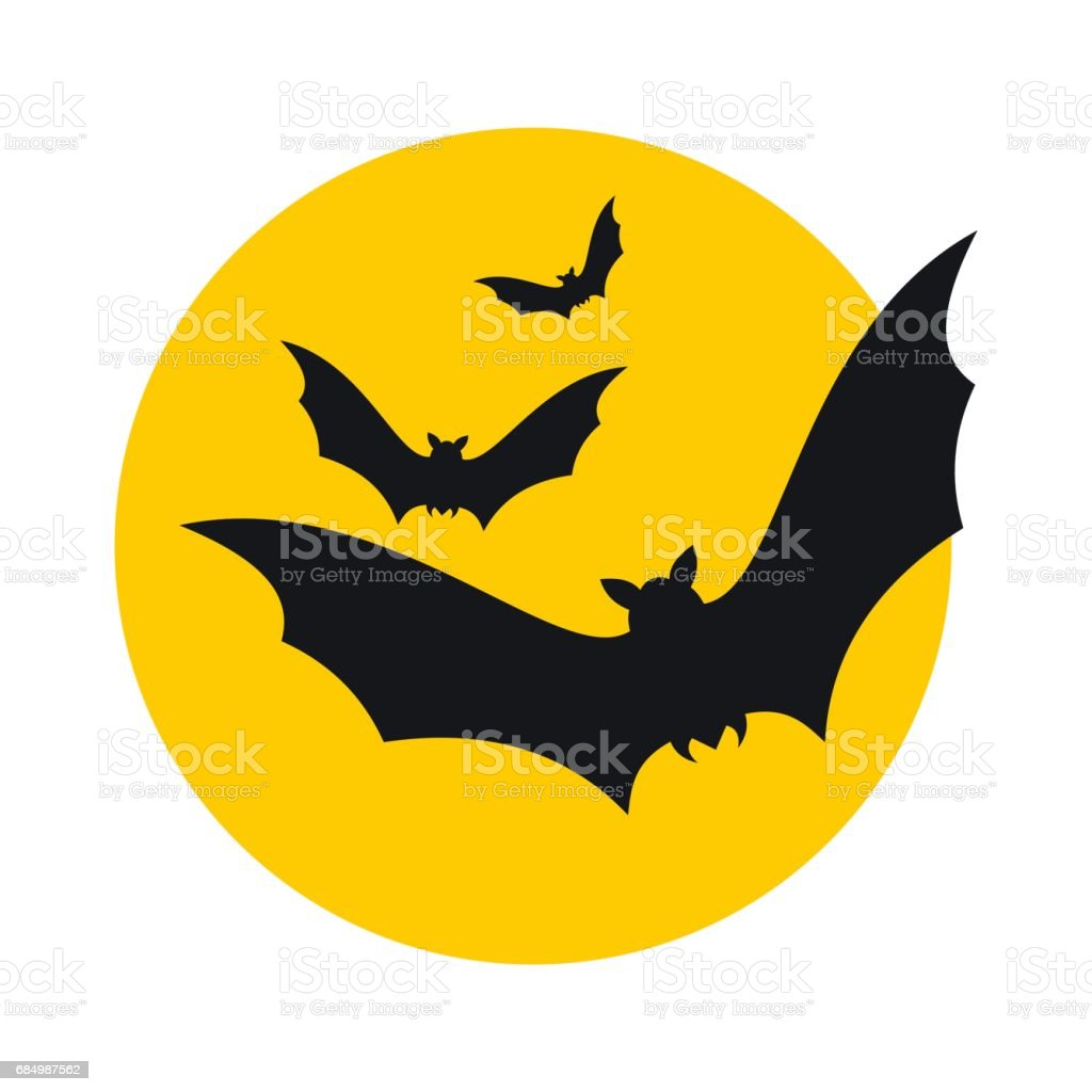 Bats fly to the moon icon vector art illustration