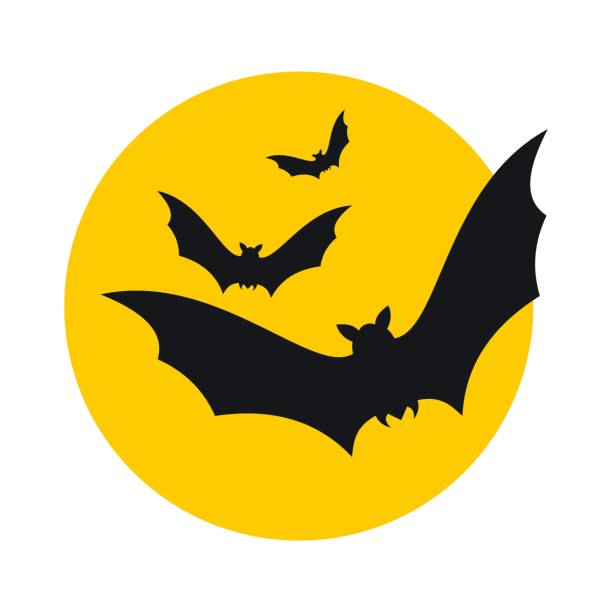 bats fly to the moon icon - bat stock illustrations, clip art, cartoons, & icons
