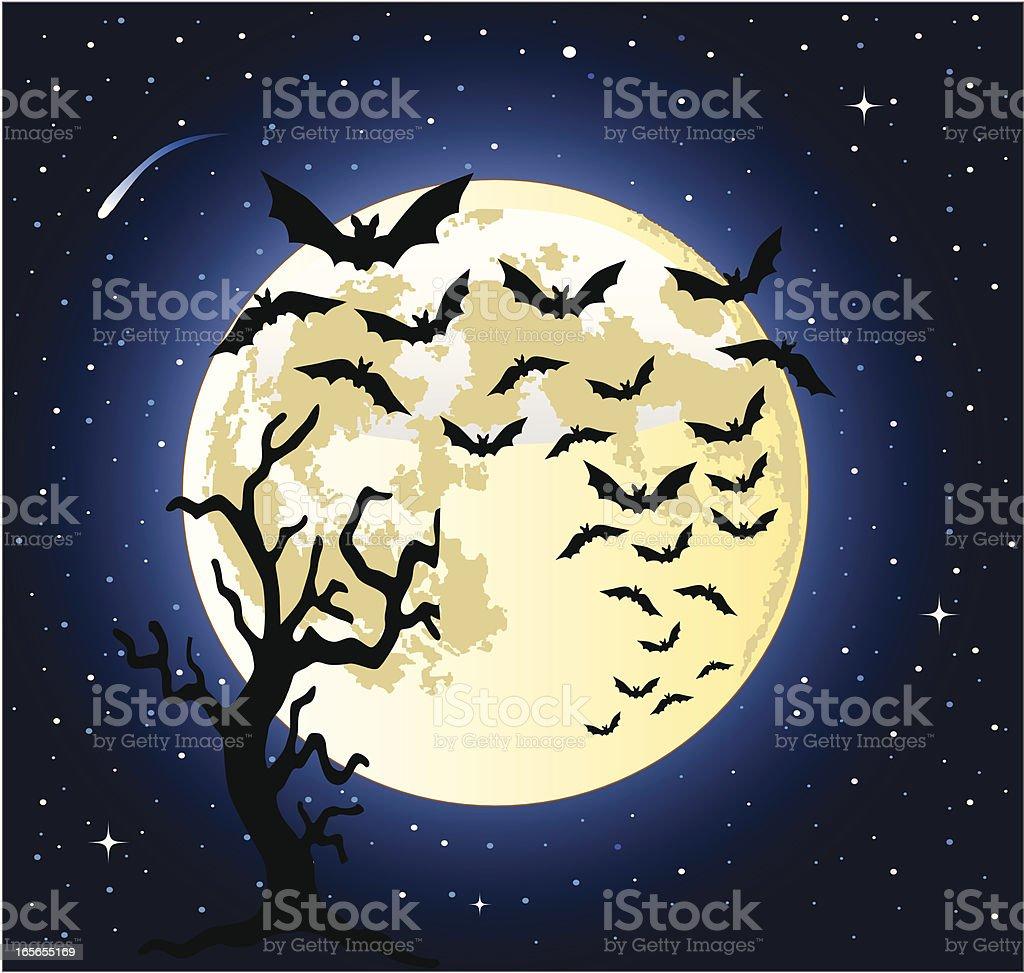 bats flying across the full moon royalty-free stock vector art