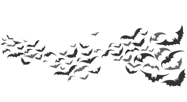 bats flying set isolated on white - bat stock illustrations, clip art, cartoons, & icons