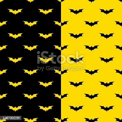 bats seamless pattern with black and yellow background. batman symbol silhouette pattern. design for decoration on holiday halloween day.