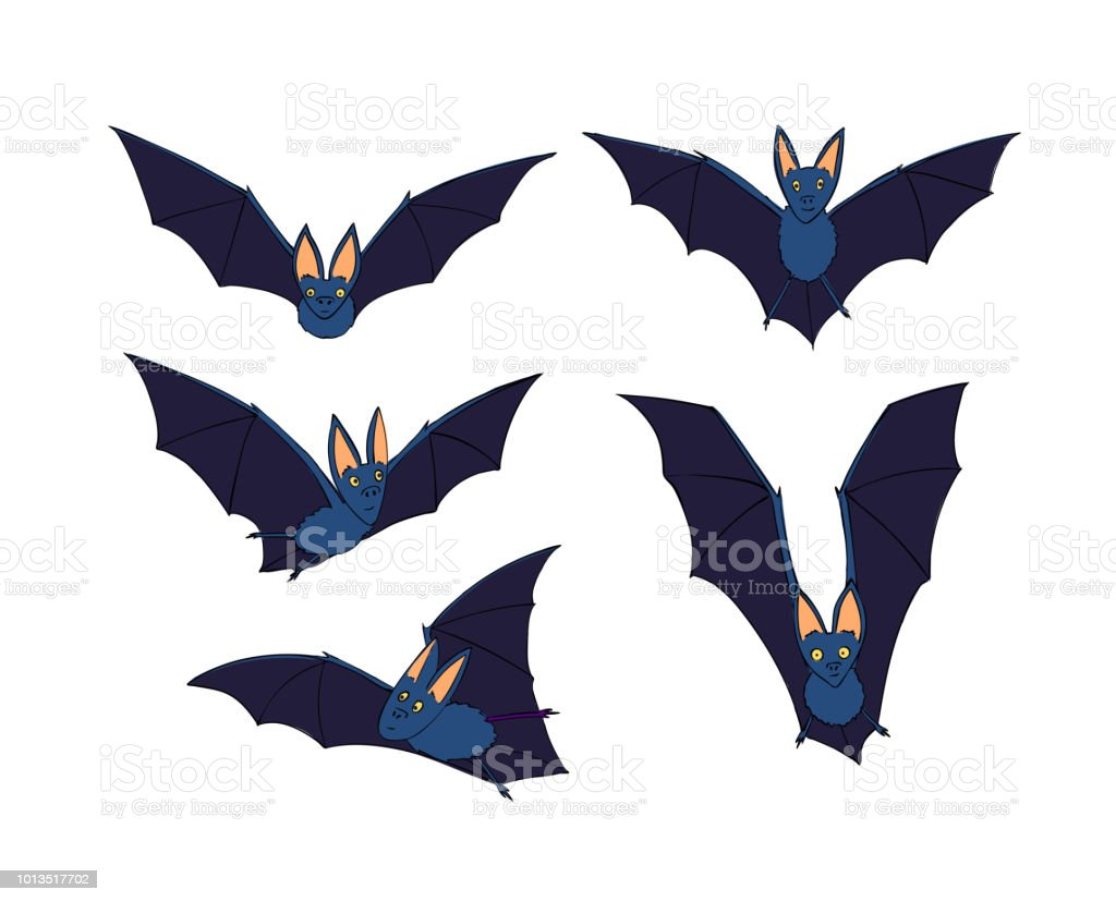Bats Set Nocturnal Animal A Symbol Of Halloween The Bat In Flight
