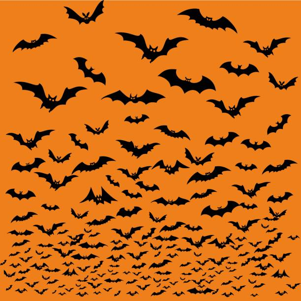 Bats silhouettes for Halloween. vector art illustration