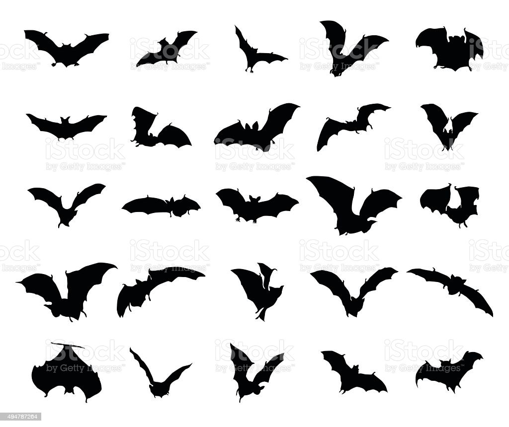 Bats silhouettes set vector art illustration