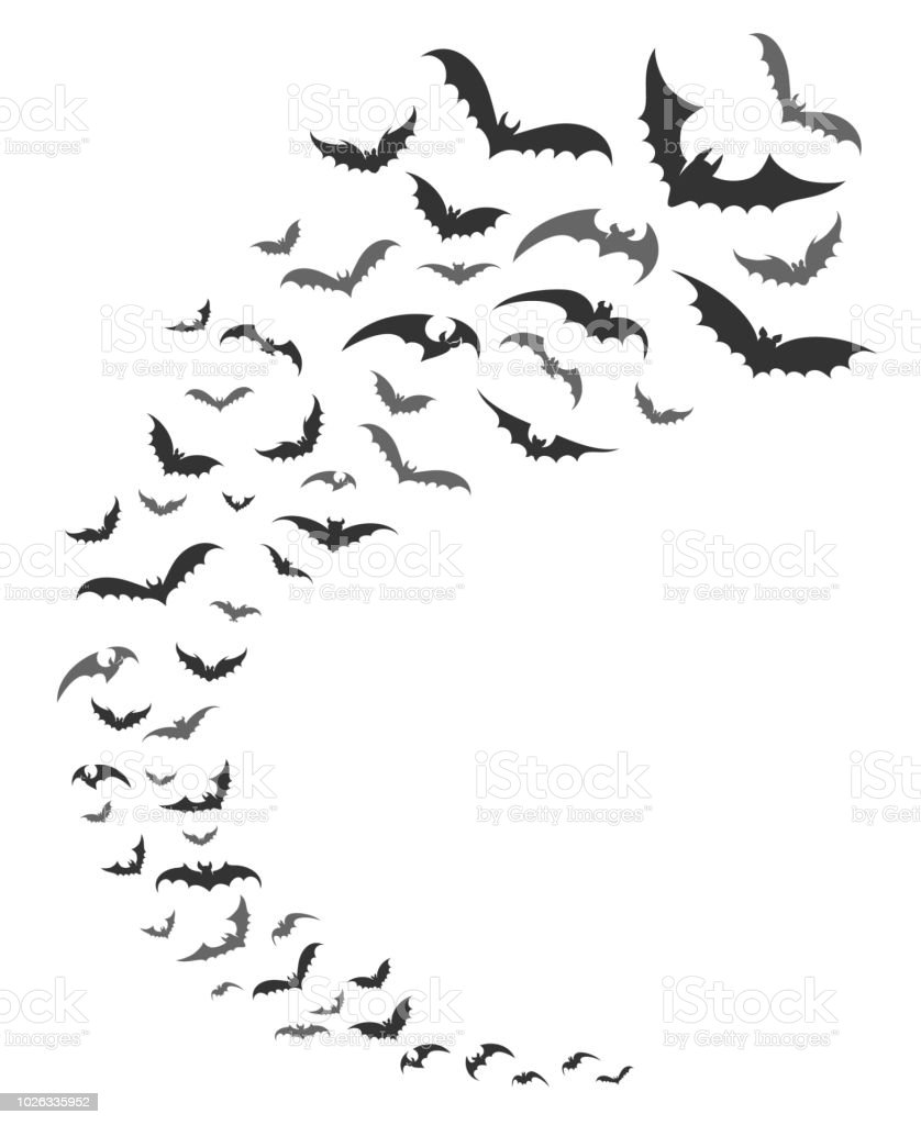Bats swarm silhouette vector art illustration
