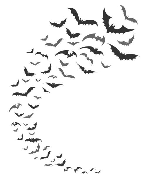 bats swarm silhouette - bat stock illustrations, clip art, cartoons, & icons