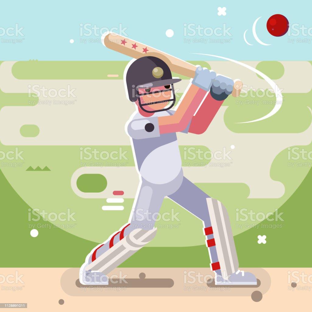 Batsman hits ball batting game sport cricket baseball bat field...