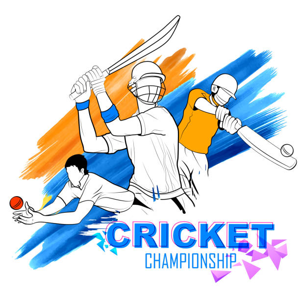ilustraciones, imágenes clip art, dibujos animados e iconos de stock de bateador tocando campeonato de críquet - críquet