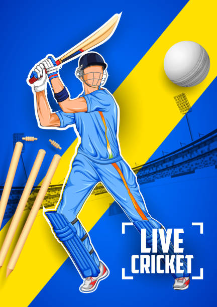 schlagmann spielen cricket-weltmeisterschaft - cricket stock-grafiken, -clipart, -cartoons und -symbole