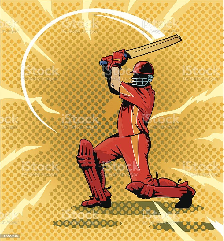 Batsman Striking a Cricket Ball vector art illustration