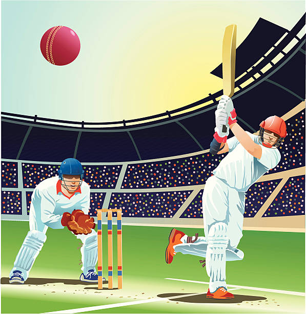 ilustraciones, imágenes clip art, dibujos animados e iconos de stock de bateador impactante bola de críquet durante cuatro ciclos - críquet