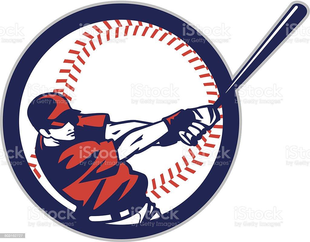 Batter in ball vector art illustration