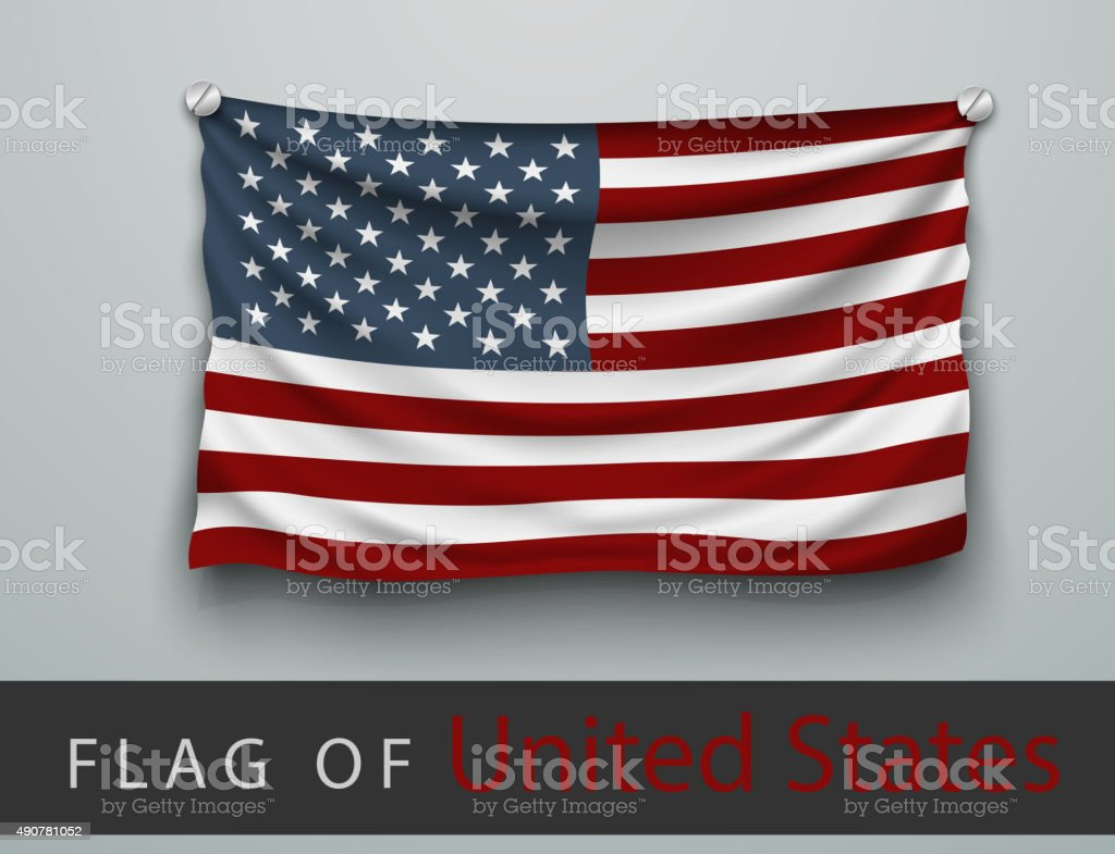 FLAG OF USA battered, hung on the wall vector art illustration