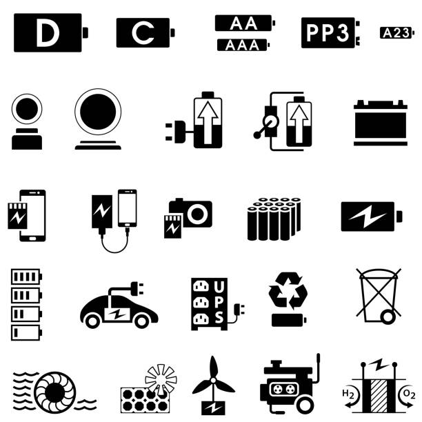 Batteries and Electricity Supply and Generation Icons Single color icon set of batteries and electricity sources. Isolated. rechargeable battery stock illustrations