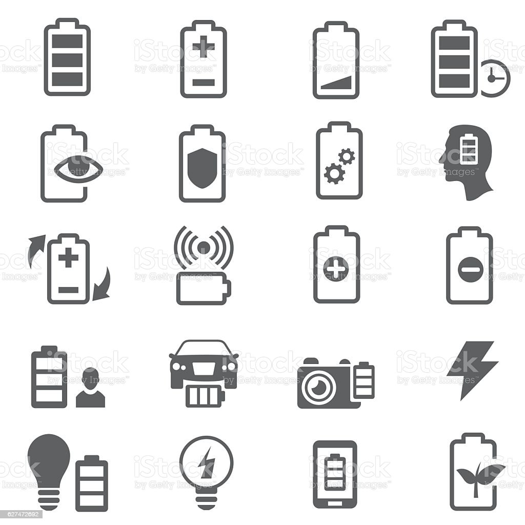 Batteries icons vector art illustration