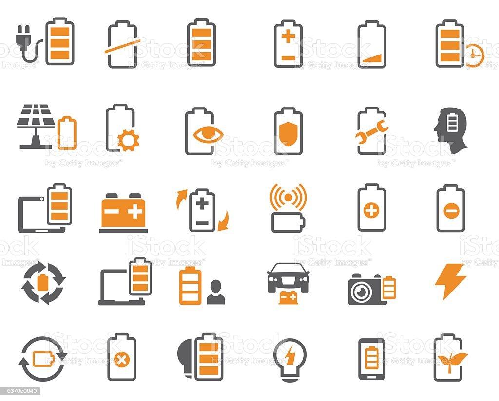 Batteries icons vector art illustration