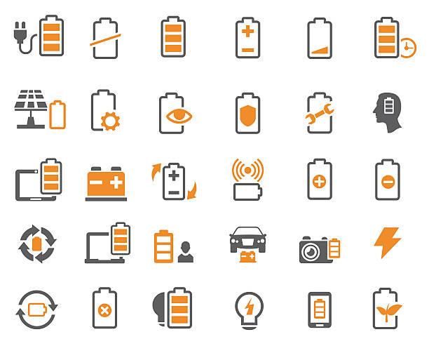 illustrazioni stock, clip art, cartoni animati e icone di tendenza di batteries icons - elettrodo