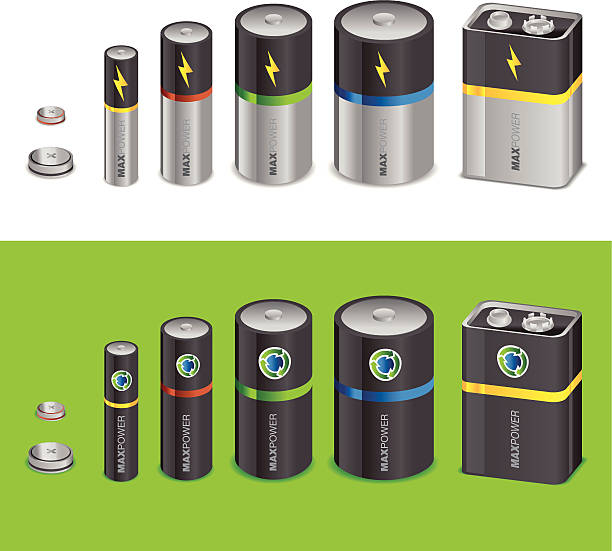 Batteries Standard and Rechardable battery set rechargeable battery stock illustrations