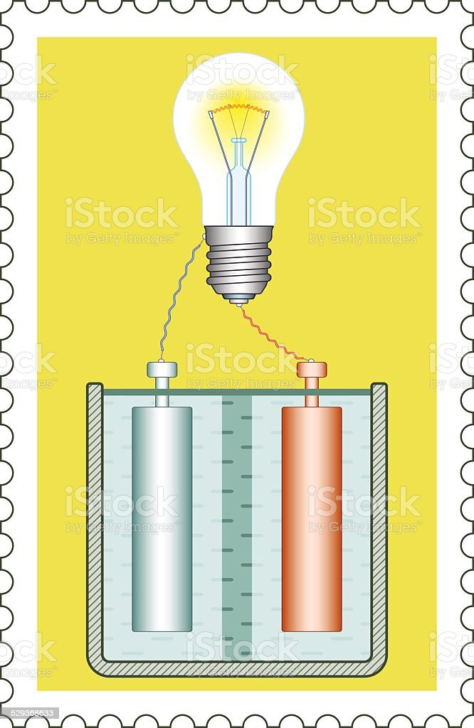 Battery and lamp on stamp vector art illustration