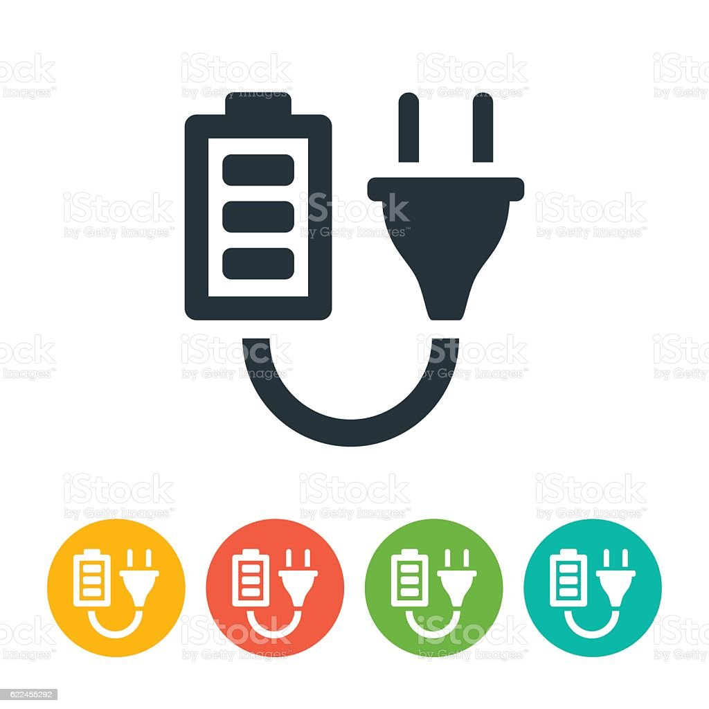 Battery and Plug Icon vector art illustration