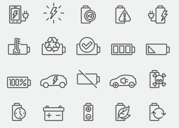 Battery And Power Line Icons Battery And Power Line Icons lithium stock illustrations