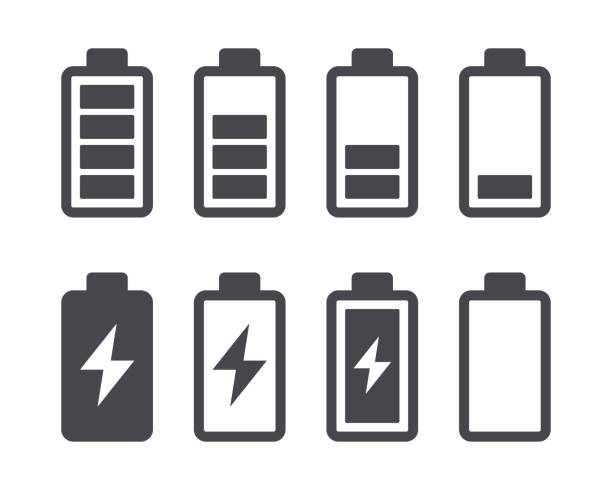 Battery capacity charge icons Different battery capacity charge icons with full and low status rechargeable battery stock illustrations