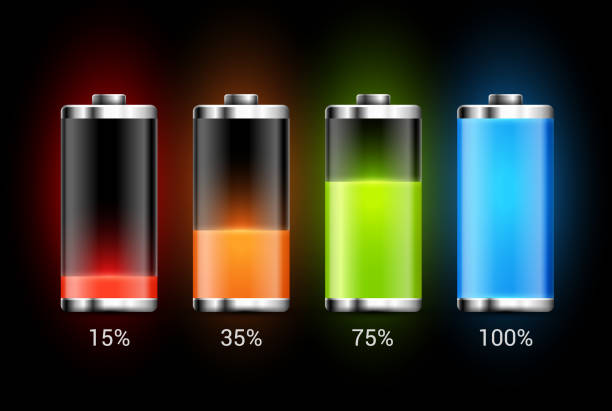 illustrazioni stock, clip art, cartoni animati e icone di tendenza di battery charge design. full charge energy for mobile phone. accumulator indicator vector icon of power level - elettrodo