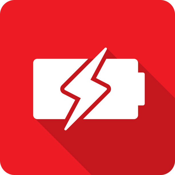 Battery Charge Icon Silhouette 3 Vector illustration of a red battery with lightning bolt icon in flat style. cell phone charger stock illustrations