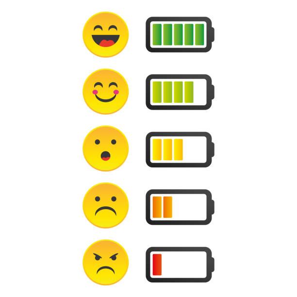 Battery charge indicator icons in vector graphics.Emotion Battery Status Indicator. Battery charge indicator icons in vector graphics.Emotion Battery Status Indicator mississauga stock illustrations