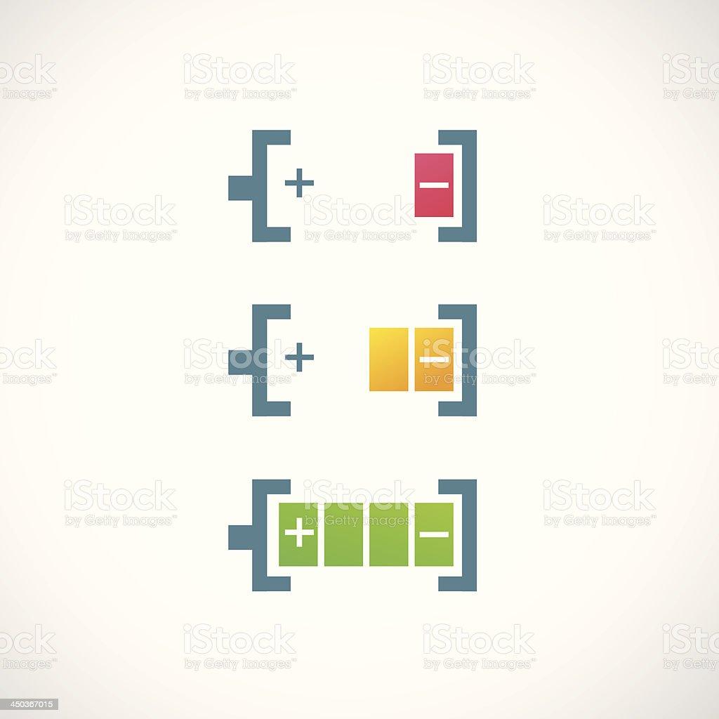 battery charge level indicators icon vector art illustration