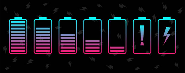 Battery charge levels icon set. Vibrant color vector illustration. Battery charge levels icon set. Vibrant color vector illustration lithium stock illustrations