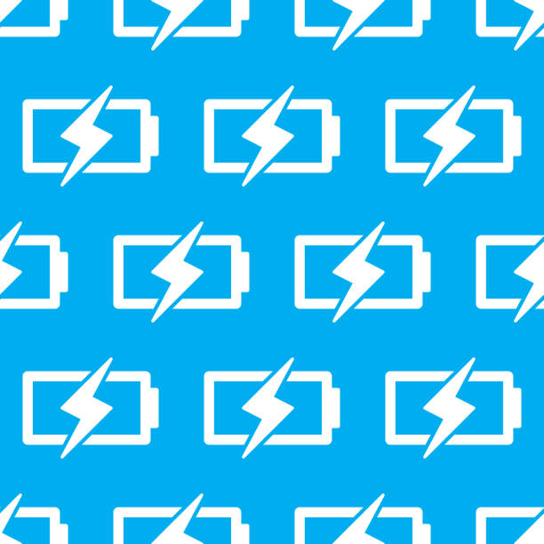 Battery Charge Pattern 2 Vector illustration of batteries with lightning bolts in a repeating pattern against a blue background. cell phone charger stock illustrations