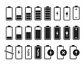 Battery charger icon vector logo. Isolated vector sign symbol. Battery charge full power energy level. Battery low icon energy symbol battery charge.