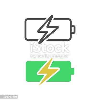 istock Battery Charging Icon Flat Design. 1255060399