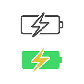 istock Battery Charging Icon Flat Design. 1255060399